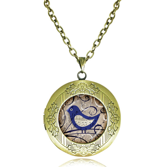 Blue bird necklace music note jewelry animal photo locket necklace glass pendant antique bronze frame necklaces bijoux wholesale(China (Mainland))