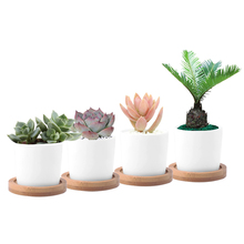 cheap 4x ceramic white plant pots with holes with bamboo tray succulent pot flower bonsai planter