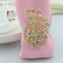 100pcs/lot Peacock diamond napkin ring