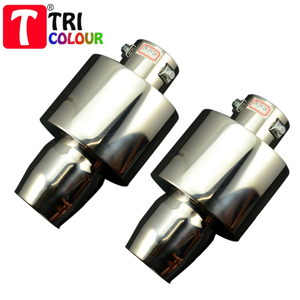 (Tricolor Muffler) 63mm Universal Fit Car Exhaust Muffler Tail Rear Pipe with sound Stainless Steel silver 5pcs/lot  #LW07<br><br>Aliexpress