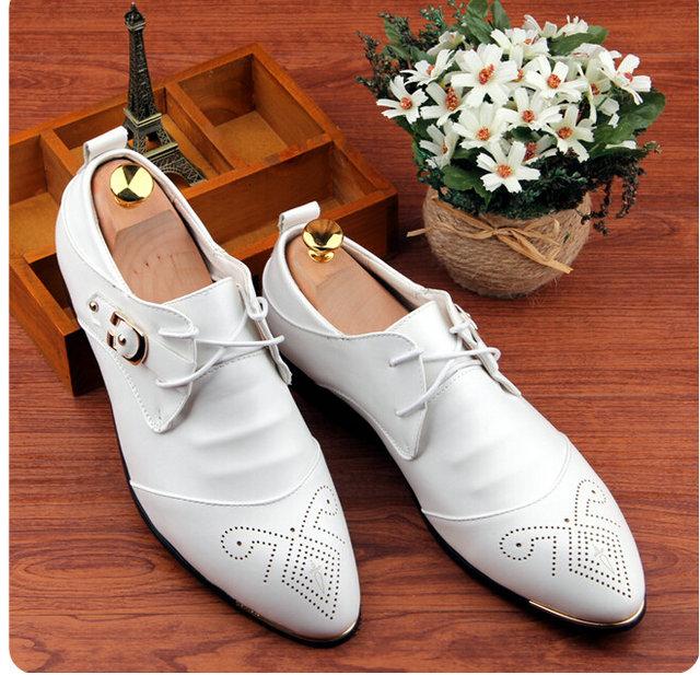 Brand Retro vintage men White Genuine Leather pointed toe fashion luxury business dress shoes Oxfords EUR 37-43 T--24