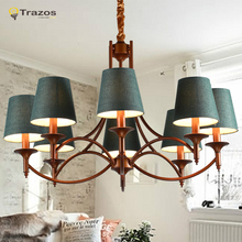 2015 Countryside Retro LED Chandelier Classic Design lustres Home Decoration Fabric shade antique brass chandelier free shipping(China (Mainland))