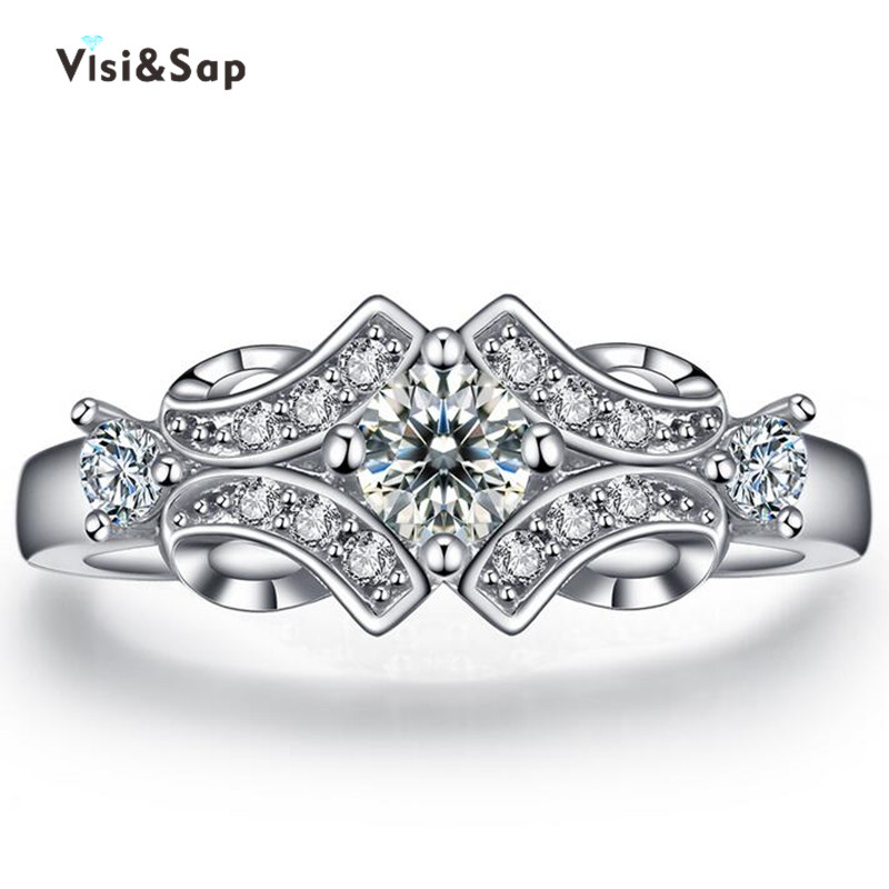 White Gold plated Rings For Women Wedding ring cz diamond vintage jewelry bijoux Accessories Engagement ring fashion VSR025(China (Mainland))