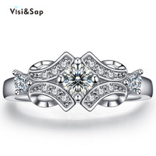 White Gold plated Rings For Women Wedding ring cz diamond vintage jewelry bijoux Accessories Engagement ring fashion VSR025