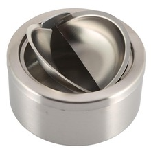 1pc Stainless Steel Cigarette Lidded Ashtray Silver Round Windproof Ashtray with Cover Portable Outdoor Accessories(China (Mainland))