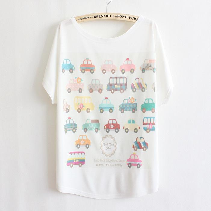 New 2015 summer Shirt female Loose Cartoon vehicle printing brand t shirt women blouse Casual batwing sleeve Tops Tees(China (Mainland))