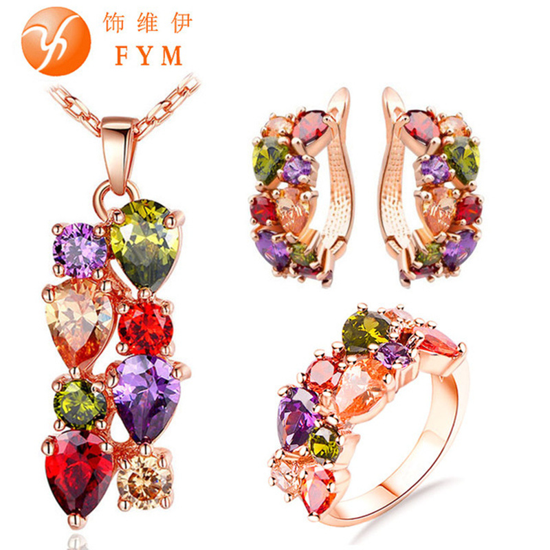 Casi Rose Gold Plated Jewelry Sets for Women Mona Lisa Colorful Crystal Necklace Ring Earrings Multicolor Jewelry Set Wholesale(China (Mainland))