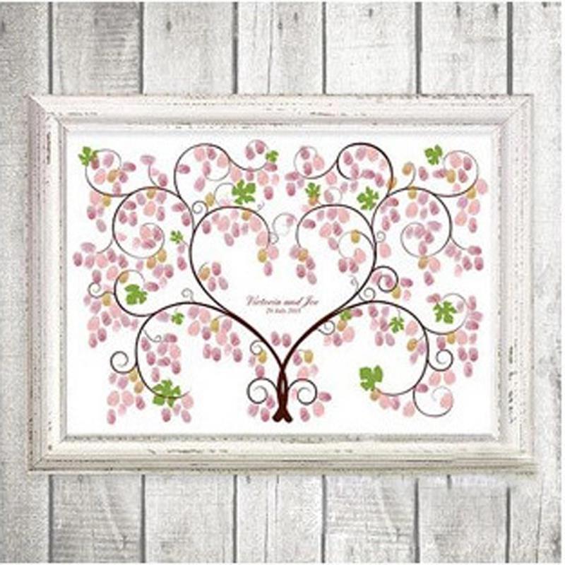Wedding Signature Book For Party 2015 Love Tree Wedding Finger Canvas Painting Wedding Tree Decoration Customised Signature Book(China (Mainland))
