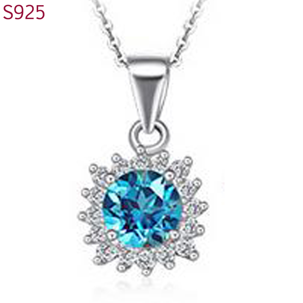 Real Pure Solid 925 Sterling Silver Pendants Women Fine Jewelry Sapphire Ruby Precious Stone Gold Filled Bijoux No Necklace(China (Mainland))
