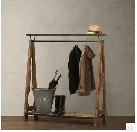 LOFT style to do the old iron pipes Shoe retro wood coat rack clothing display clothing store shelf(China (Mainland))