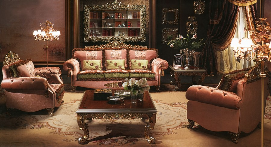 European Style Luxury Imperial Flower Decorative Living Room Set Sofa Set Top Quality Fabric