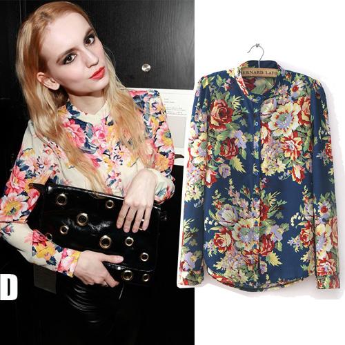 2015 Fashion women summer elegant casual loose long sleeve floral print chiffon shirts blouses for women plus size S-XXXL(China (Mainland))