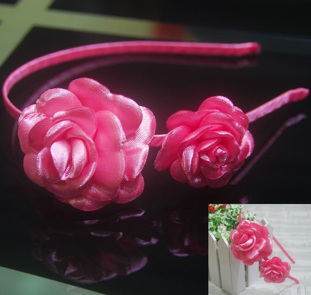 New Fashion Hot Sale Hot Pink Bow Flowers Polyester Headband for Women Girls Children Kids Baby(China (Mainland))