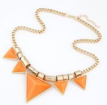 2015 Fashion Bohemia Style Womens Unique Jewelry Gold Metal Triangle Gems Bib Necklace Pendants Chain Fast