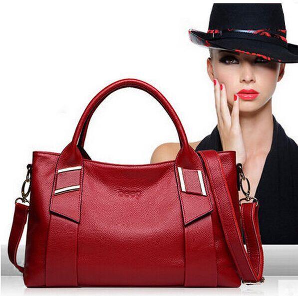 2015 New Women Leather Handbags Messenger Bags Genuine Leather Bag Vintage Tote Casual Clutch Shoulder bag Ladies Crossbody Bag(China (Mainland))
