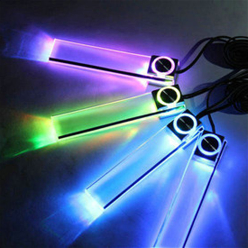 4 in 1blue or colorful car decorative atmosphere lamp charge interior floor decoration lights led mood car mood lighting