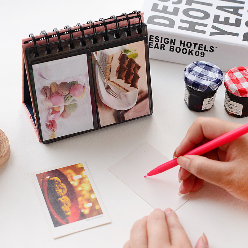 New Arrival 7 Colors Can Chose PVC Leather Loose-leaf Holds 68 Pieces 3 Inch Photos Pictures Mini Desktop Polaroid Photo Album(China (Mainland))