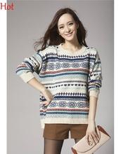 Women Pullover Winter Sweaters 2016 Female Wool Sweater Womens Christmas Warm Wear Loose Knit Blouse Sueter Feminino 19998(China (Mainland))