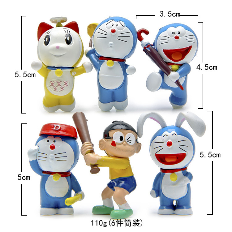 Lovely 6pcs/set Anime Cartoon Cute Flying Candy Doraemon PVC Action Figure Collectible Model Toy Doll Kids Gift Juguetes 4-5CM(China (Mainland))