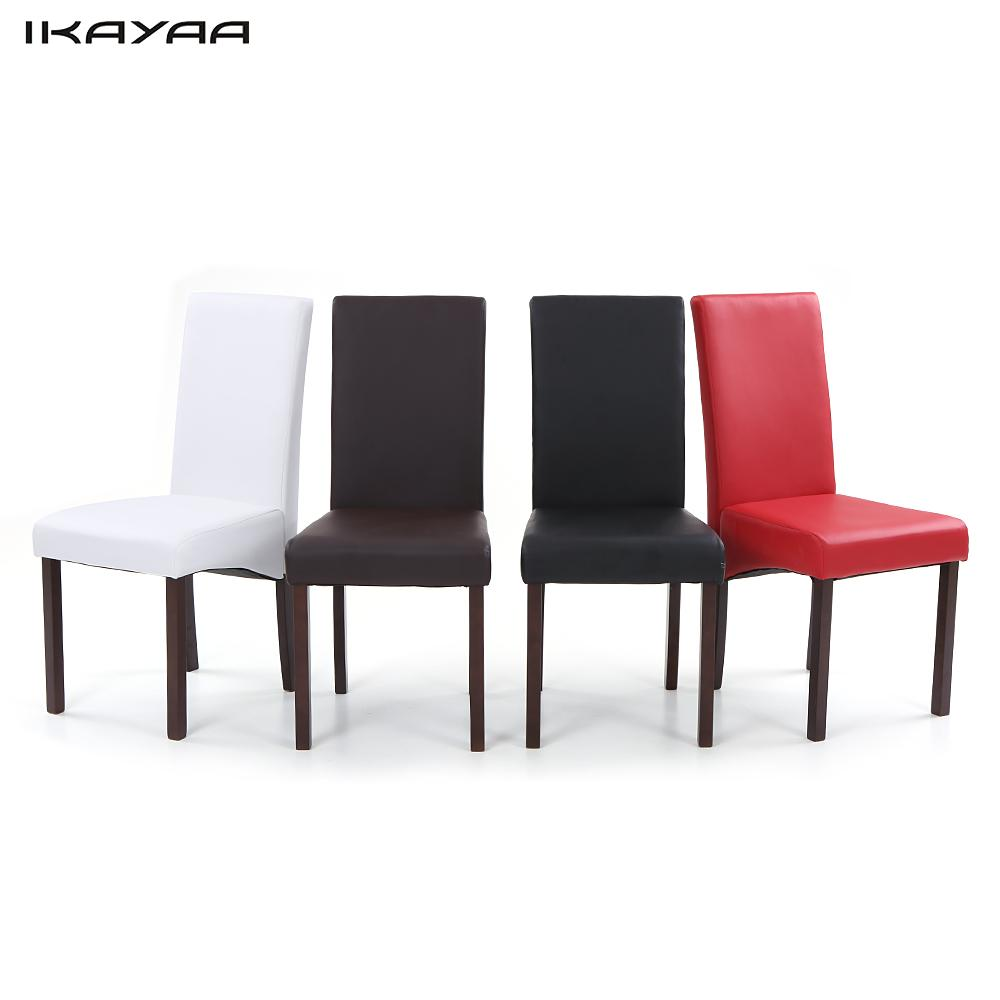 IKAYAA 2PCS/Set of 2 Modern Faux Leather Dining Chairs High Back Wood Frame Padded Kitchen Side Parson Chairs Breakfast Stools(China (Mainland))