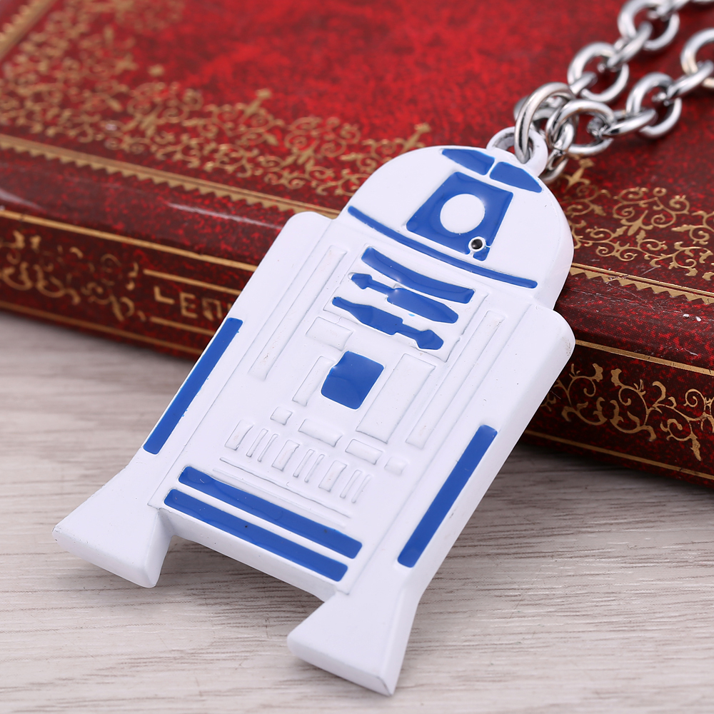 10 pcs/lot new design movie Star wars R2D2 Droid Robot pendant Necklace blue male necklace cosplay accessories metal chain(China (Mainland))