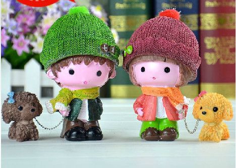 Car accessories resin doll small decoration dog yarn doll home decoration wedding gift(China (Mainland))