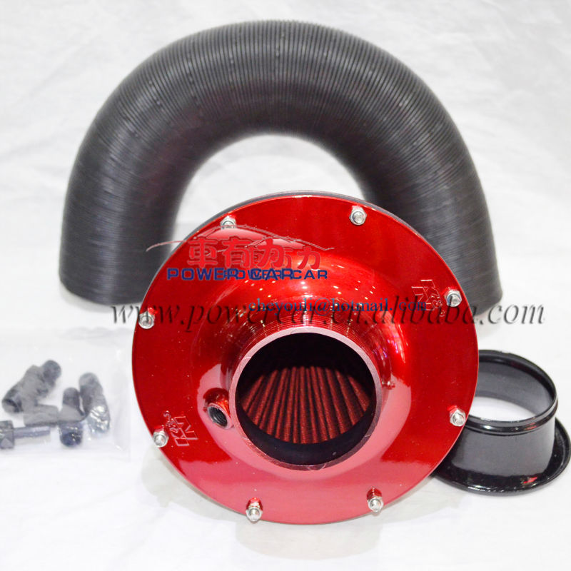 KN Apollo Plastic Car Filter Upgrades Kit Supercharger Turbo Turbine Changer Air Intake Fuel Saver Fan 70mm Blue red(China (Mainland))