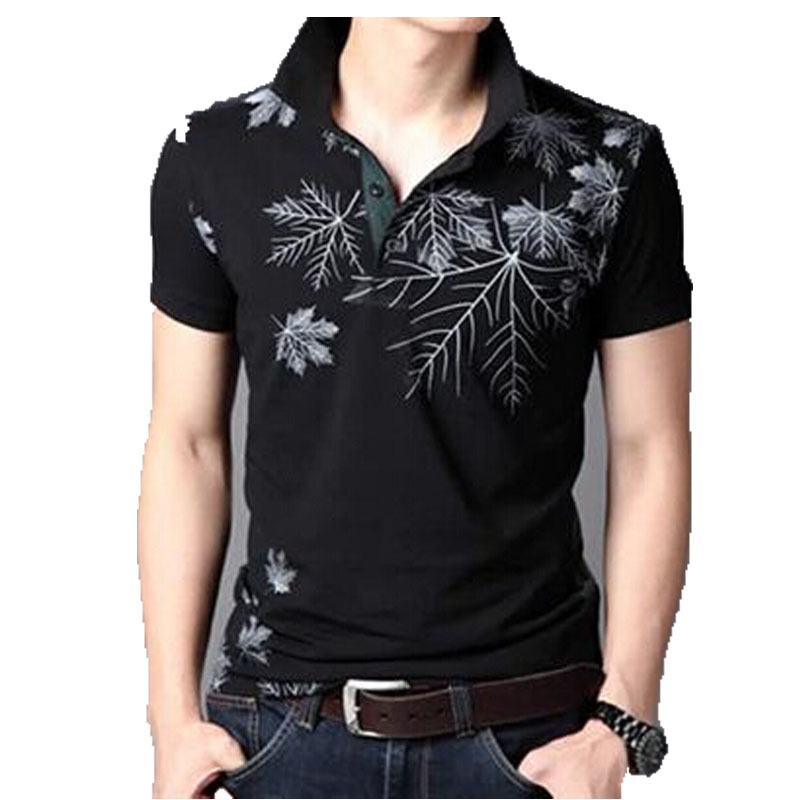 Printing Polo Shirt Youth Casual Summer Lapel Shirt Famous Brand Slim Fit Tennis Short Sleeve Polo White Leaf Printed Polo Shirt(China (Mainland))