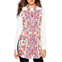 Women plus size paisley floral print long blouses vintage retro long sleeve side split shirts blusa feminina office tops LT581(China (Mainland))
