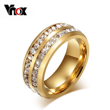 Vnox Two Row Crystal Ring for Women Gold Plated Stainless Steel Wedding Elegant Anel(China (Mainland))