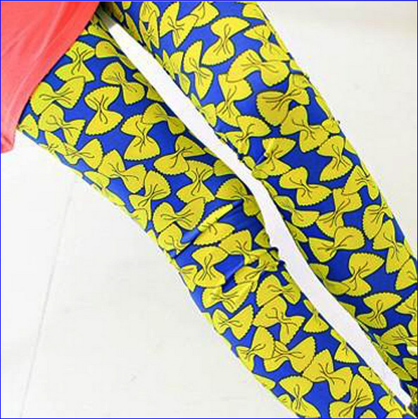 Free shipping Sexy style spandex pants bow tie prints stretch leggings for women MZ-1360(China (Mainland))