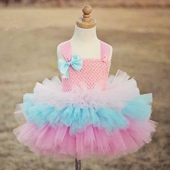 2015 New Girl TUTU Dress Bokwnot Gauze Tiered Princess Dress Girl Party Dress 2-8Y 13772