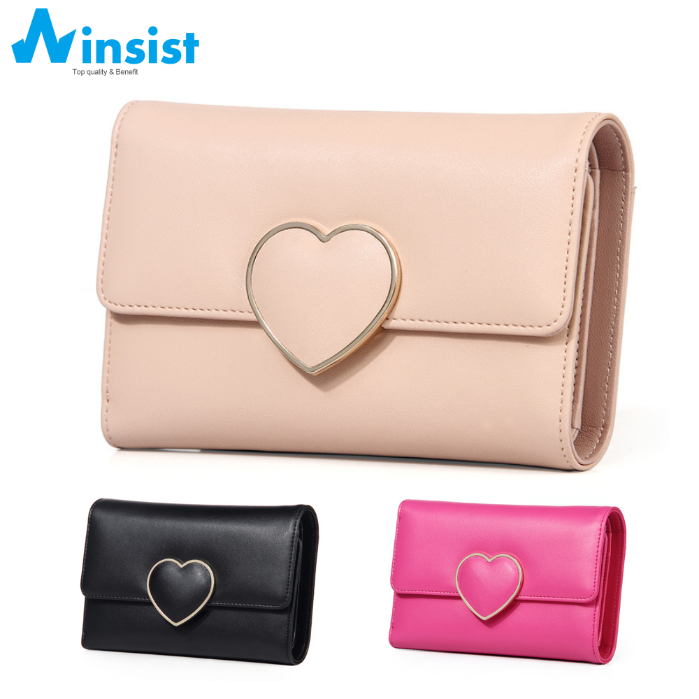 Brand Kawaii Candy Colors Women Wallet Heart-shaped Leather Ladies Wallet Multiple Cards Holder For Girls Women Standard Wallet(China (Mainland))