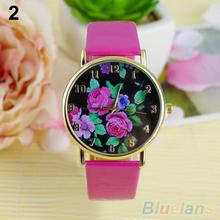 Women's Rose Flower Dial Faux Leather Strap Quartz Analog Casual Wrist Watch 1CQQ