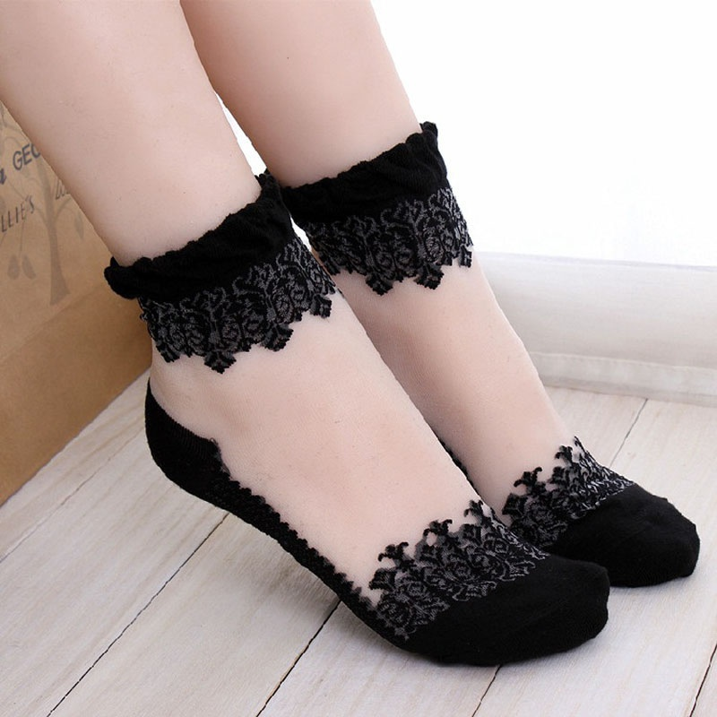 1Pair Women Lace Ruffle Ankle Sock Soft Comfy Sheer Silk Cotton Elastic Mesh Knit Frill Trim Transparent Ankle Socks(China (Mainland))