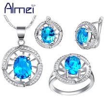 Almei 925 Silver Bijoux Red Blue Purple Pink Stone Rhinestone Necklace Earrings Ring Jewelry Sets for Women Wedding Bridal T448(China (Mainland))