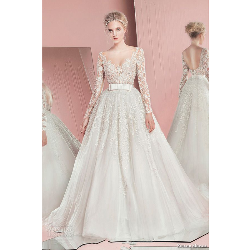 Zuhair murad bridal spring 2016 wedding dresses long for Tulle wedding dress with sleeves