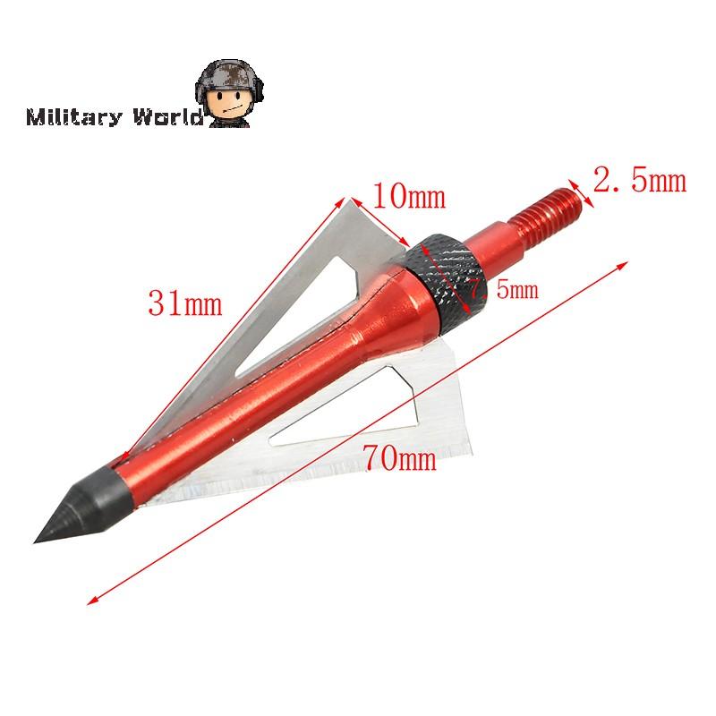 6pcs pack Hunting Steel Archery Arrowhead Broadhead 100 Grain 3 Fixed Blades 2 Cutting Arrow For