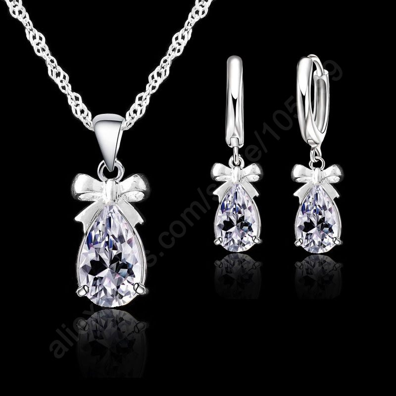 2015 New Gift 925 Real Sterling Silver Shining White Cubic Zirconia Lever Back Earring Pendant Necklace Woman Jewelry Set - Online Store store