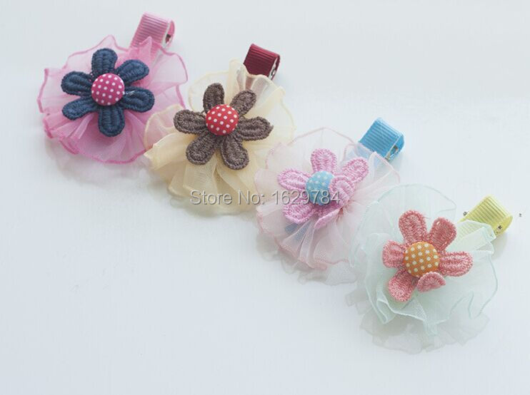 2015 Summer Fashion HotWholesale Baby Girl Hair Accessories New Floral Hairgrips Chiffon Hairclips PINK YELLOW BLUE RED(China (Mainland))