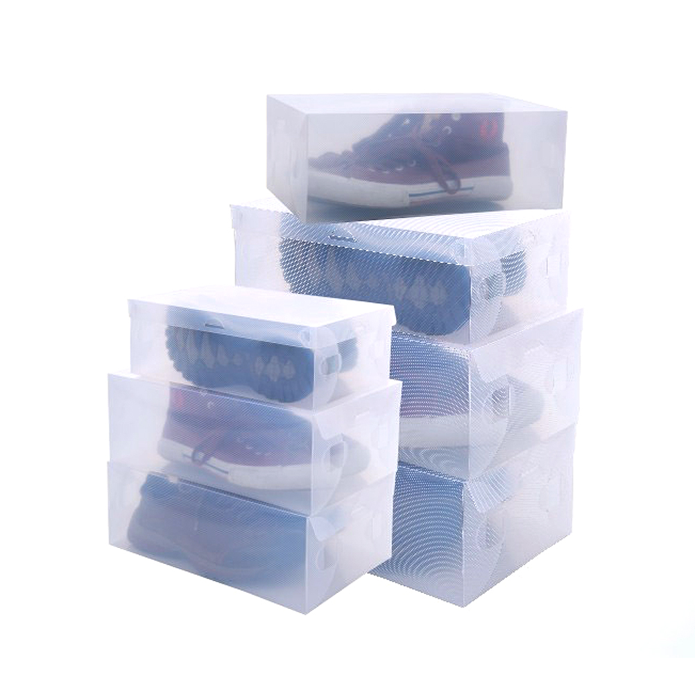 6pcs 28*18.5*9.5cm Novelty Stackable Clear Plastic Women's Girls Shoes Storage Boxes Shoebox Cases Organizers(China (Mainland))