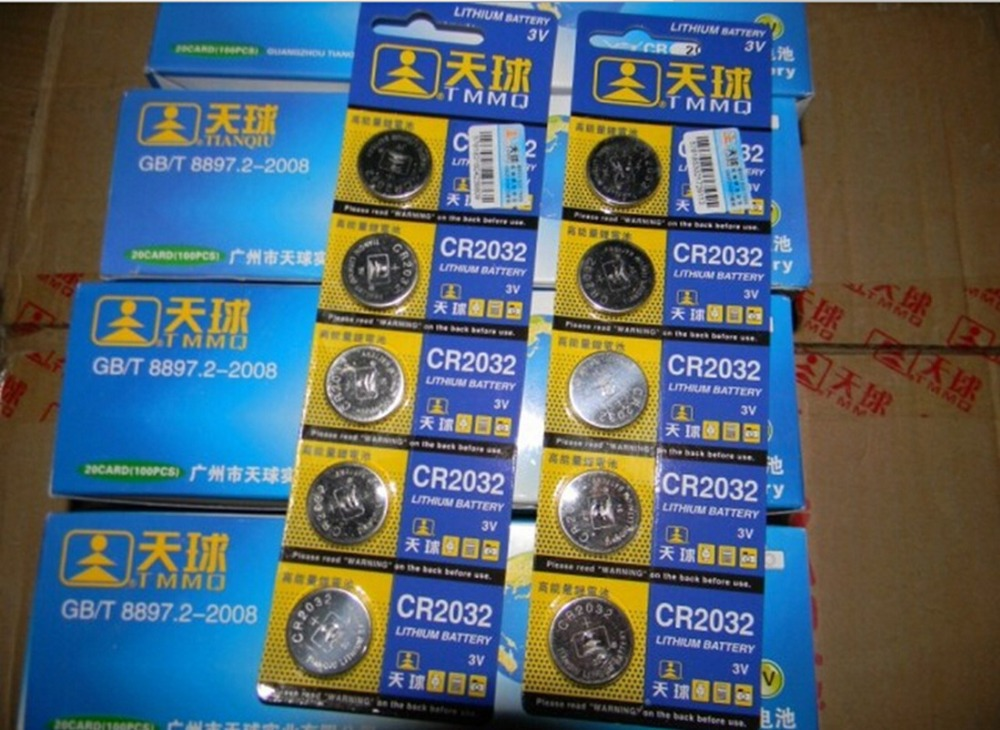 Free shipping 5 Pcs 3V LM2032 CR2032 Coin Cell Button Wholesale High Capacity Lithium Battery For