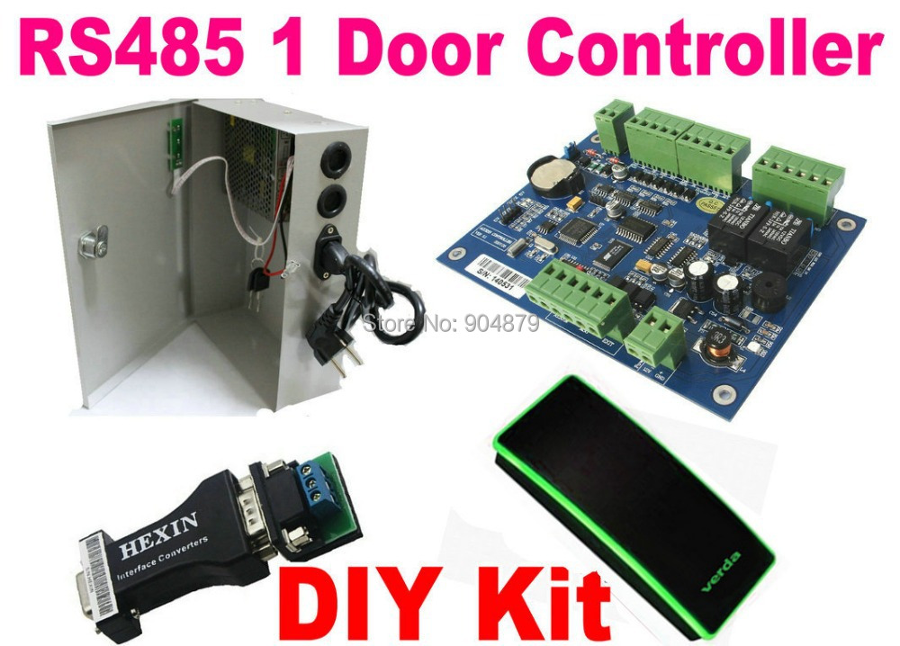 Здесь можно купить  RS485 1 Door Access Controller Panel Board  RS485/RS232 Converter+ AC110-260V UPS Power Supply+ RFID 13.56MHz M1 IC Card reader  Безопасность и защита
