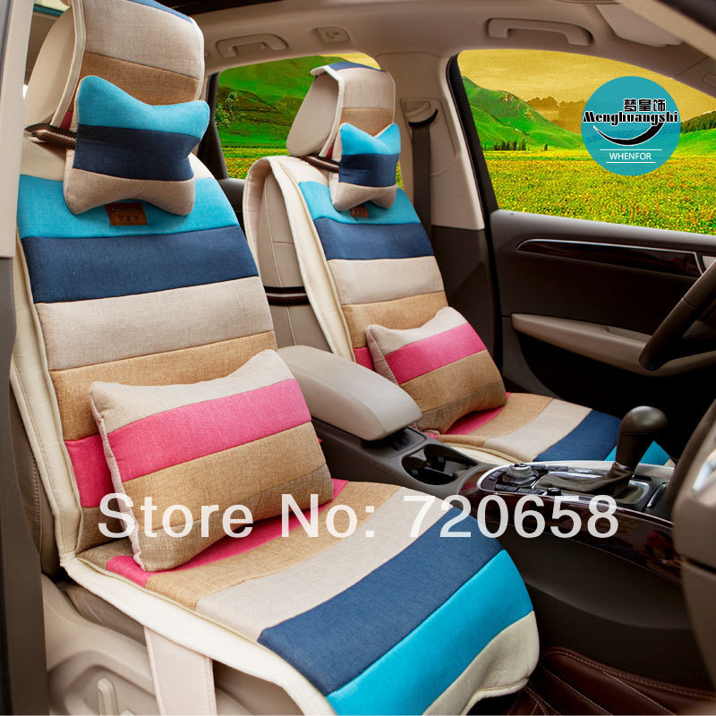 Здесь можно купить  2014  Spring First New Coming Rainbow Seven color splicing Flax Car Seat Cover  Universal Auto Cushion For Girls Hot sale 10pcs 2014  Spring First New Coming Rainbow Seven color splicing Flax Car Seat Cover  Universal Auto Cushion For Girls Hot sale 10pcs Автомобили и Мотоциклы