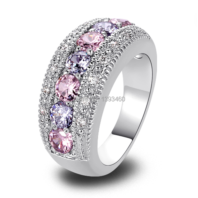 Women Rings Fashion Pink Topaz & Amethyst 925 Silver Band Ring Size 6 7 8 9 10 11 12 Round Cut New Jewelry Gift Wholesale(China (Mainland))