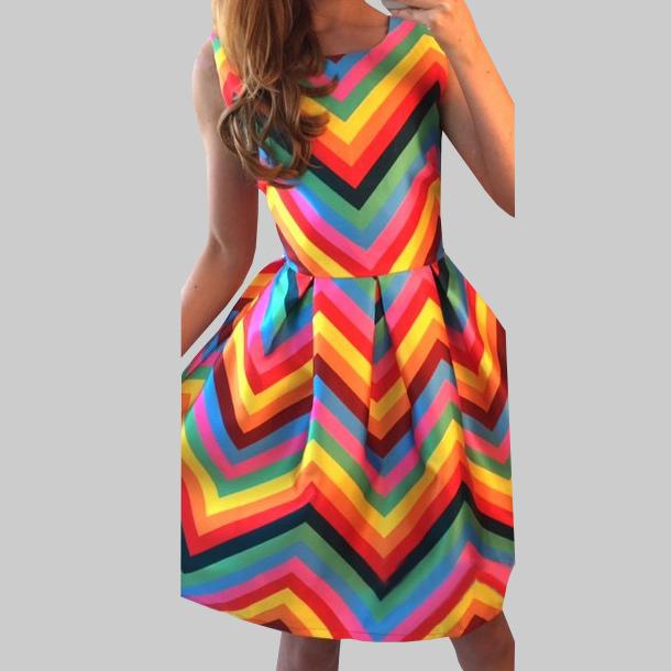 Photos summer dresses: Rainbow plus size summer dresses - photo #24