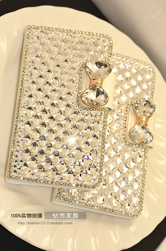 Capa para Luxury diamond flip leather case for samsung galaxy Ace 3 Phone bag cover for galaxy Ace 4 wallet with card holder(China (Mainland))