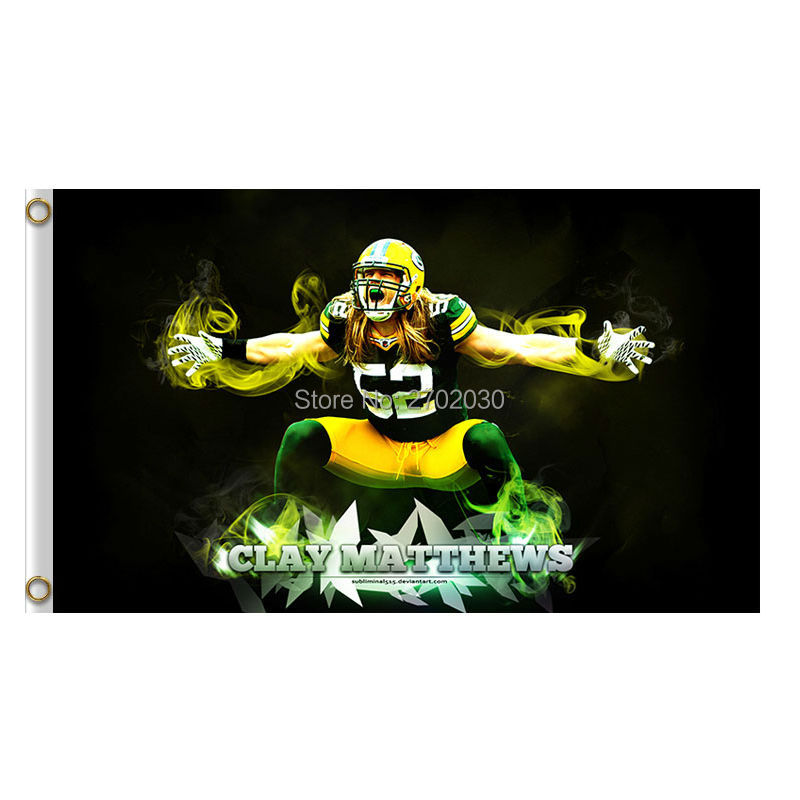 Clay Matthews 52 Design Green Bay Packers Flag Banners Sport Football Team Flags 3x5 Ft Super Bowl Champions Banner(China (Mainland))