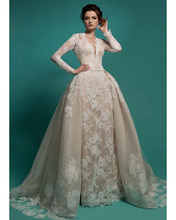 Buy Long Sleeve Detachable Skirt Wedding Dresses Appliques Lace V Neck Backless Removable Train Bride Bridal Gowns vestido de novia for $202.92 in AliExpress store