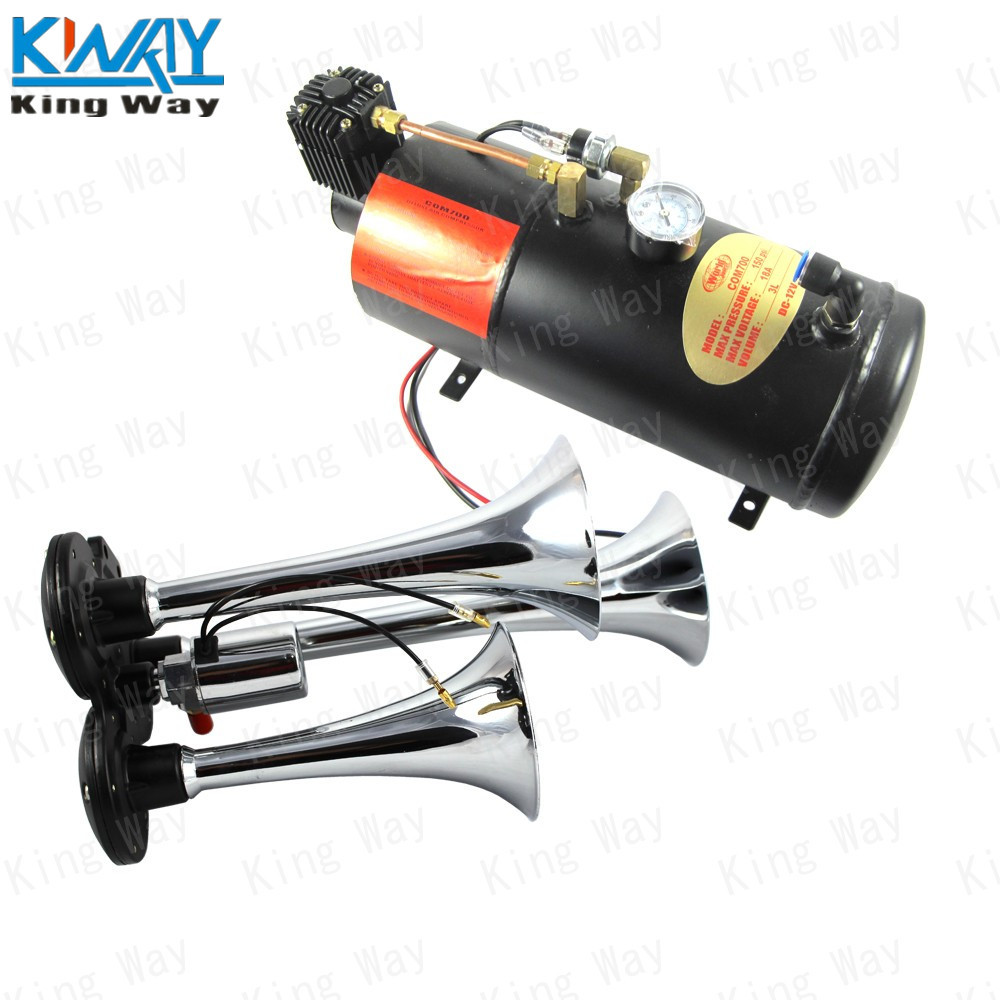 FREE SHIPPING-King Way-Chrome 12V Three Trumpet Train Air Horn with 125 PSI 3 Liter Air Compressor(China (Mainland))